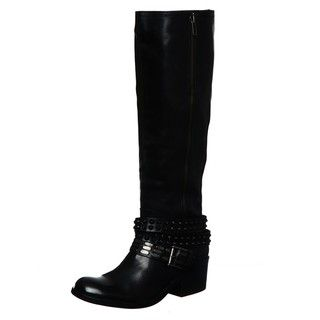 Bronx Womens Stuck On You Black Tall Belted Riding Boots