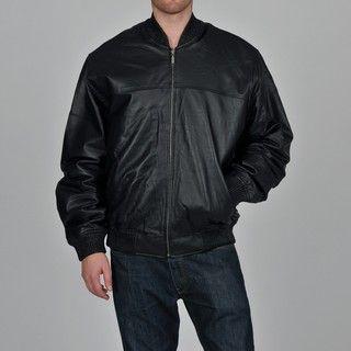 Knoles & Carter Mens Big & Tall Shoulder Stitch Leather Bomber Jacket