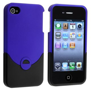 Blue/ Black Rear Snap on Rubber Coated Case for Apple iPhone 4/ 4S