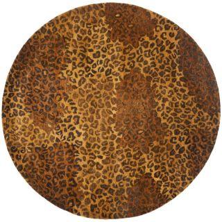 Handmade Leopard Gold/ Rust Hand spun Wool Rug (4 Round)