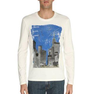 CALVIN KLEIN JEANS T Shirt Homme Ecru et bleu Ecru et bleu   Achat