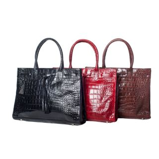 Michael Rome Patent Croco embossed Leather Tassel Tote Bag