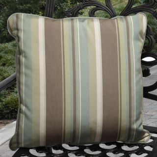 Clara Outdoor Green/ Brown Stripe Throw Pillows Made with Sunbrella