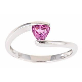 Yach 14k White Gold Trillion cut Pink Ceylon Sapphire Ring