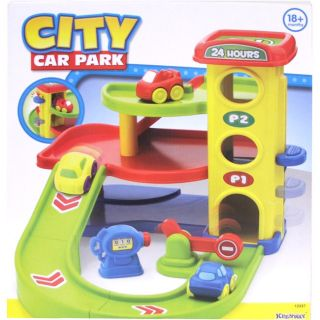 Plastic Multi story Keenway City Car Park with Two Cars and Gas Pump