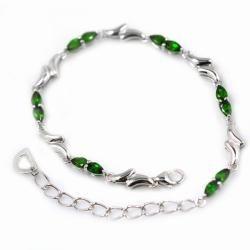 De Buman Sterling Silver Pear cut Chrome Diopside Bracelet