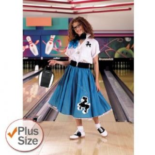 Complete Poodle Skirt Outfit Plus (Turquoise & White