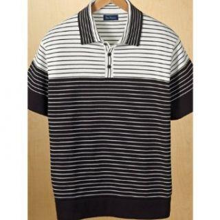 Paul Fredrick Mens Cotton Short Sleeve Stripe Polo Collar