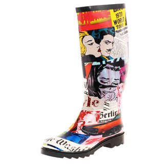 Henry Ferrera Womens Face Newspaper Print Rubber Rain Boots