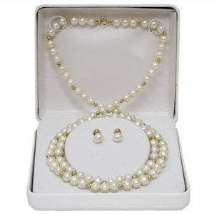5 6mm White Freshwater Pearl and 14K Yellow Gold Bead