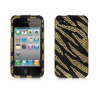 Premium Apple iPhone 4/4S Black and Gold Zebra Rhinestone Case