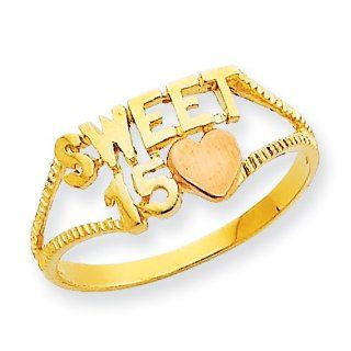 14k Two Tone Sweet 15 Heart Ring, Size 6 Jewelry