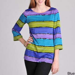 Sunny Leigh Womens Ombre Striped Top