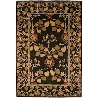 Hand tufted Coffee Brown/ Red Wool Rug (8 x 11)