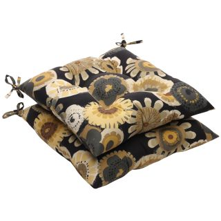 Black/ Yellow Floral Outdoor Tufted Seat Cushions (Set of 2