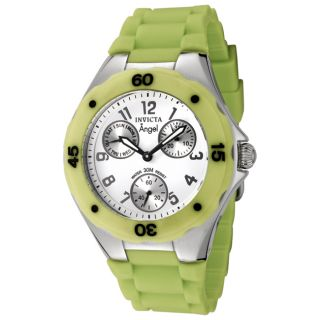 Invicta Womens Angel White Dial Light Green Silicon Watch