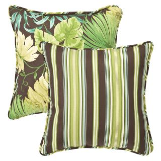 Pillow Perfect Outdoor Green/ Brown Tropical/ Stripe Toss Pillows (Set