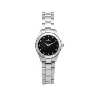 Movado Womens Junior Sport Stainless Steel Black Dial Watch