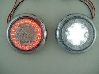 Euro Red White LED Combo Multi Function Round Stop Turn Tail Reverse