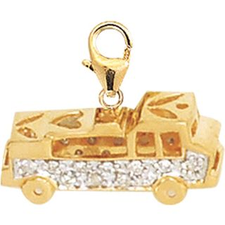 14k Gold 1/10ct TDW Diamond Fire Truck Charm