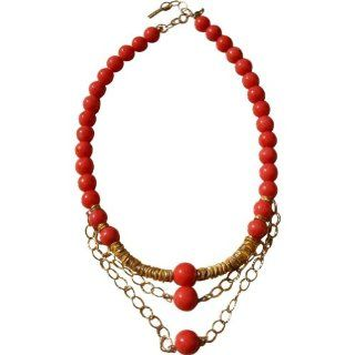 MINU Jewels Coral Gold Necklace (Pink Red) Shoes