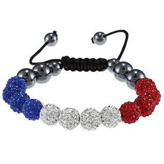 La Preciosa 10 mm Red, White and Blue Crystal Bead Macrame Bracelet