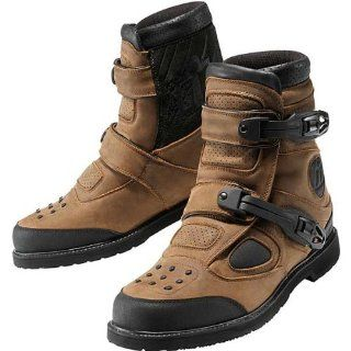 Icon Patrol Waterproof Mens Leather Street Motorcycle Boots   Brown