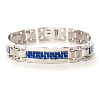 Mens Stainless Steel Blue Carbon Fiber Bracelet