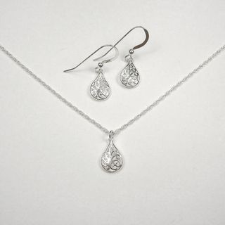 Jewelry by Dawn Filigree Teardrop Sterling Silver Necklace and Earring
