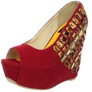 Fahrenheit Womens Janne Red Jewel Embellished Peep toe Wedges