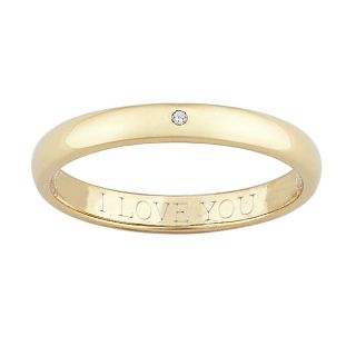 14k Gold over Silver Diamond Accent I Love You Band