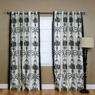 Black Velvet 84 inch Damask Curtain