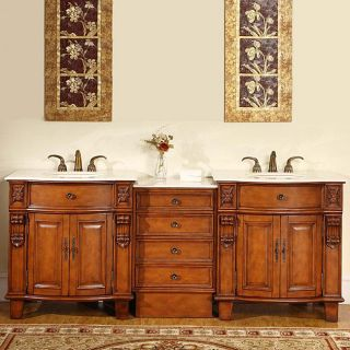 Silkroad Exclusive 84 inch Double Sink Cabinet Bathroom Vanity
