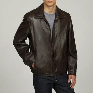 Collezione Mens Big and Tall New Zealand Lamb Leather Banded Jacket