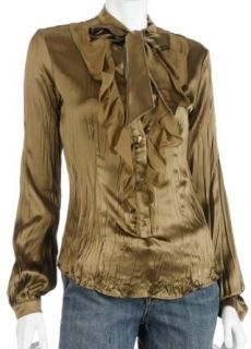 Cavalli Womens Long Sleeve Silk Shirt, Olive, Size 42