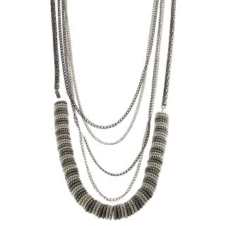 Journee Collection Silvertone Gunmetal Beaded Necklace