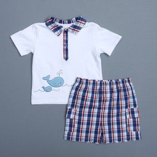 Absorba Toddler Boys Whale Polo Shirt and Shorts