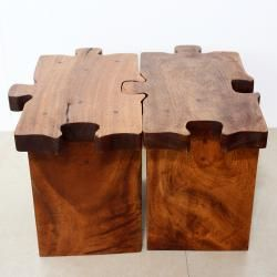 Hand carved Wooden Puzzle Piece Stool (Thailand)