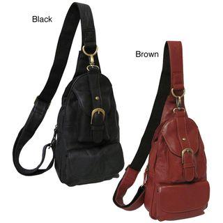 Amerileather Grylls Petite Cowhide Leather Multi pocket Sling Bag
