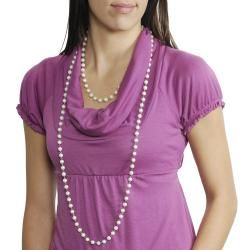 Journee Collection Silvertone Vintage 60 inch Faux Pearl Necklace