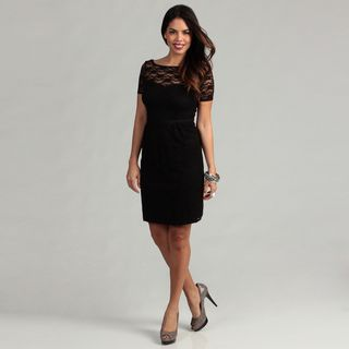 London Times Womens Black Sheath Dress