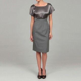 Tahari Womens Silvery/ Grey Empire Dress