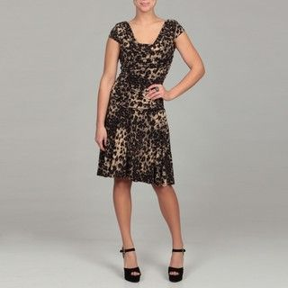 Sophia Christina Womens Black/ Tan Animal Print Dress