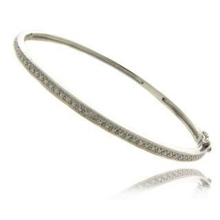 Sterling Silver Diamond Accent Bangle Bracelet