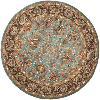 Handmade Heritage Blue/ Brown Wool Rug (8 Round)
