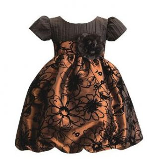Lito Little Girls Brown Floral Christmas Holiday Dress