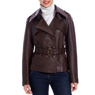 Jessie G. Womens Belted Safari Lambskin Leaer Jacket