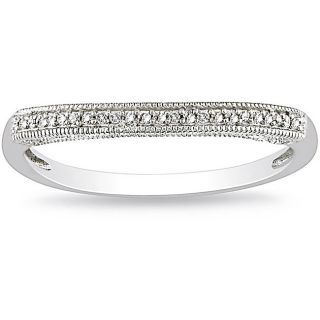 Miadora 14k White Gold Diamond Curved Wedding Band