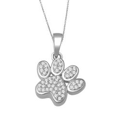 White Gold 1/8ct TDW Dog Paw Print Necklace Today $178.99