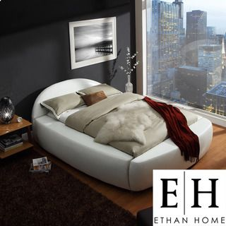 ETHAN HOME Yorkshire White Bonded Leather Modern Upholstered Bed